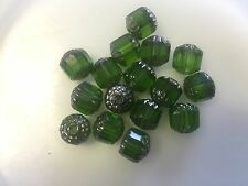 Vintage Green w. Silver Watercolor Faceted Cathedral Window Sided Glass Bead Lot