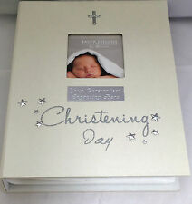 "Christening Day Photo Album Pearlised Cream Metal Icons 96 Photos 4""x6"" Engraved"