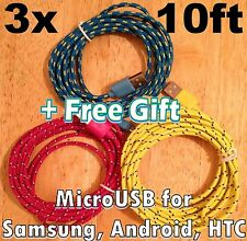 3x pcs Lot 10Ft 3M Long USB Cable MicroUSB Samsung HTC Android LG Charger +Gift