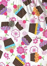 White CUPCAKES Cherry Novelty Food Candy Jar Quilt Fabric Fat Quarter FQ FQs