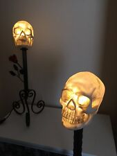 LED table top lamp - gothic life size skull & rose wrought iron handmade 67.5cm