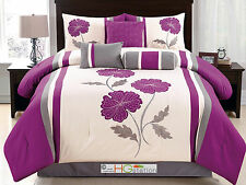 11-Pc Floral Applique Embroidery Comforter Curtain Set Violet Purple Gray King