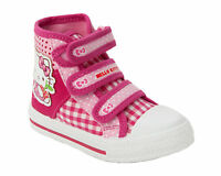 GIRLS OFFICIAL HELLO KITTY PINK CANVAS SHOES HI TOP TRAINERS INFANTS SIZE 6-12