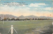 EL PASO TEXAS FORT BLISS CAVALRY OFFICERS ROW ACROS ATHLETIC FIELD POSTCARD 1920