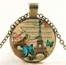 Vintage Butterfly Paris Eiffel Cabochon Glass Bronze Pendant  Necklace