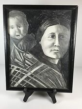 Native American Indian Lady Original Pencil Charcoal Drawing Sacagawea? & Baby