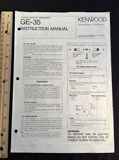 Kenwood Ge-35 Stereo Equalizer Original Owners Manual Ge35 A16
