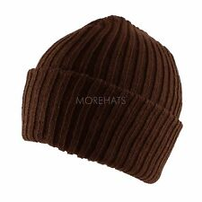 Warm Stripe Thick Knit Beanie Cap Casual Daily Ski Hat Mens Boys Kids Winter