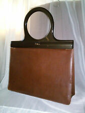 Vintage 50s LODIX England Brown Soft Leather Purse Satin Finish Lucite Handles