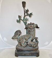 "Antique ? Chinese Bronze Foo Dogs or Shi Shi Temple Lions Statue  (15.5"" tall)"