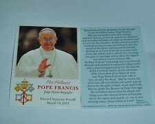 6-  POPE FRANCIS Holy Cards New Rememberance of his election