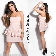 SEXY BANDEAU APRICOT PEPLUM MINI DRESS WITH LACE.UK 8/10 EU 36/38 S/M.