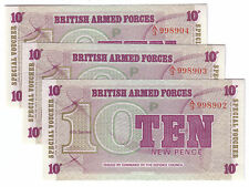 British Armed Forces UK 6th Ser. 1972 Lot Set of 3 Notes: 10 New Pence UNC Crisp