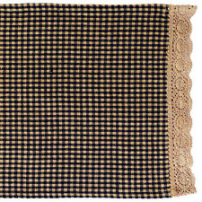 "Primitive Country Rustic 36"" Black Granny's Check Table Runner W/Crochet Edge"