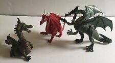 Lot of 3 Dragon Figurines Plastoy and Papo Brand Toys Collectables Fantasy