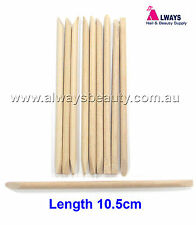 10Pc Orange Wood Stick Manicure Sticks Wooden Cuticle Pusher L10.5cm Aussie Sale