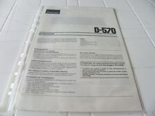 Sansui D-570 Owner's Manual  Operating Instructions Istruzioni New