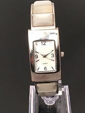 ORNATE Mother Of Pearl WOMEN'S SILVER TONE BANGLE BRACELET WATCH