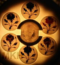 White Marble Coasters Set Rare Stone Marquetry Inlay Art Collectible Decor Gift