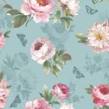 Vintage Flower Floral Statement Duck Egg Blue Pink Wallpaper Tropical Exotic