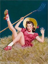 1940s Pin-Up Pitchfork in the Hay Picture Poster Print Art Pin Up