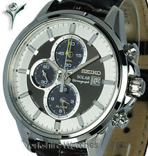 New SEIKO SOLAR CHRONO ALARM BRONZE & SILVER DIAL Leather Buckle Strap SSC259P1