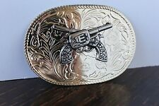 Nickel Silver Gold Color Western Style Belt Buckle Two Revolvers Pistols Guns