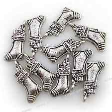 50pcs Antique Silver Tone Christmas Sock Pendants Alloy Jewelry Craft Findings D