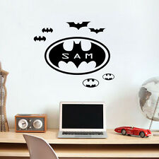 Personalized Bat Wall Sticker Custom Kids Name Vinyl Decal For Boys Bedroom