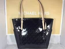 NWT Christmas Gift Black Metallic Mirror Michael Kors Jet Set East West Tote Bag