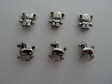 Embellishments-6 pcs - 3 Rocking Horses 3 Teddies for adorning cards and crafts
