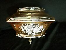 Vintage Glass Roses Single Ceiling Fixture Smokey Clear Light Globe