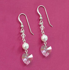 Sterling Silver Earrings w Swarovski Elements White Pearl & Clear Crystal Heart