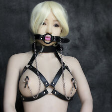 New Black Bondage Harness Open Bra Ring Gag Collar Fetish Restraints BDSM Kinky