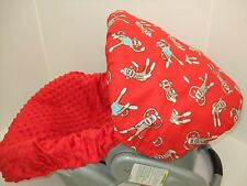 SOCK MONKEY & RED MINKY INFANT CAR SEAT COVER SET/Graco/BabyTrend & Most brands