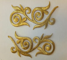 GOLD LEAF DESIGN PATCH X 2, metallic,  matching pair; SEW-ON/IRON-ON *BN*