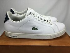 Lacoste White Leather Sneakers Sz US 13 Men's Casual CLEAN Tennis Shoes
