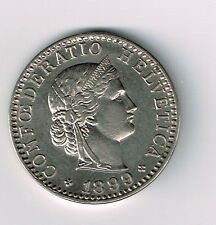 SWITZERLAND HELVETICA 1899 B 20 TWENTY RAPPEN NICKEL COIN UNCIRCULATED