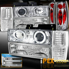 1994-1998 Chevy Silverado Tahoe (10PCS) Halo Projector LED Headlights+Tail Light