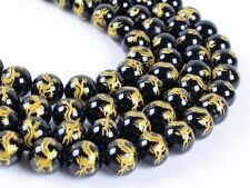 """0811 10mm Carved black agate dragon loose beads 15.5"""""""
