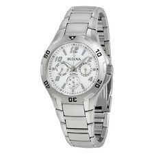 Bulova Marine Star Multi-Function Silver Dial Stainless Steel Mens Watch 96C32