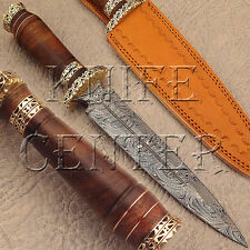BEAUTIFUL HAND MADE DAMASCUS STEEL HUNTING KNIFE | DAGGER BOWIE | NATURAL WOOD
