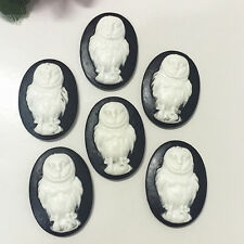 6pcs Vintage owl convex Cameo oval resin flatback scrapbook for craft