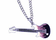 Very cool pink and black enamel guitar pendant necklace