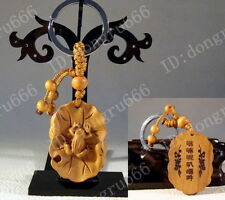 Classical Carved wooden key chain keyring (Lucky Lotus Leaf frog). A632