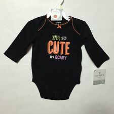 "Carters Halloween Bodysuit  Girls Infants 3mos ""I'm So Cute It's Scary""  (1658)"