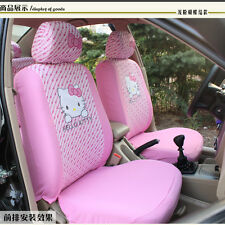 1set/10pcs Cute Hello Kitty Comfortable Pink Car Seat Covers Car Accessories