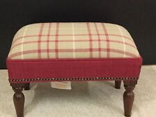 Footstool upholstered in a Laura Ashley fabric Kayens check cranberry
