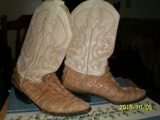 Men Beige Crocodile Alligator tail Western Leather Cowboy Boots Rodeo SZ 6.5 M