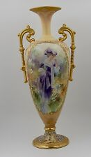 ANTIQUE  LIMOGES HAND PAINTED  ENAMELED BEADED GOLD PORTRAIT  R0SES VASE ...19""